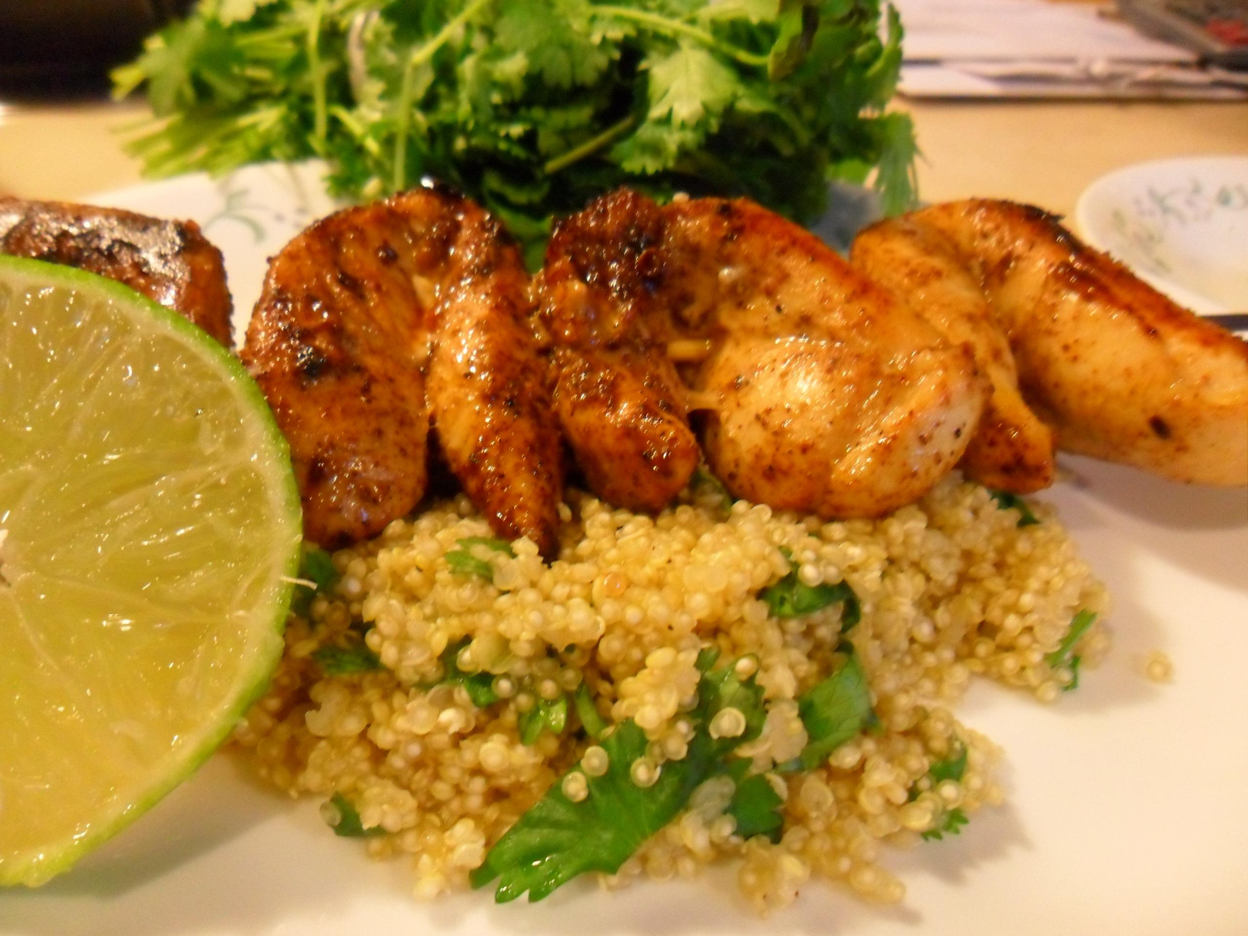 Spicy-Skewered Chicken & Cilantro-Lime Quinoa | Collegiate Culinaire
